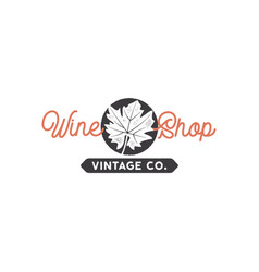 Wine shop logo template concept grape leaf in vector