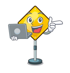 With laptop harm warning sign shaped on cartoon vector
