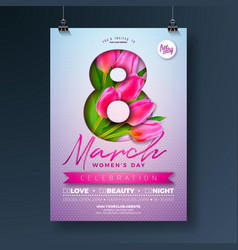 Womens day party flyer with tulip vector