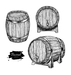 Wooden barrel Hand drawn vintage vector