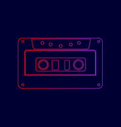 cassette icon audio tape sign line icon vector image