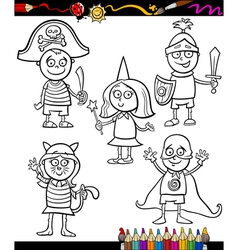 Kids in costumes set coloring page vector