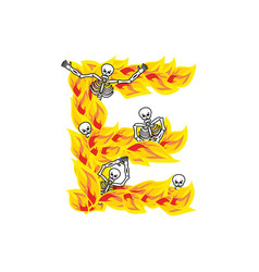 Letter e hellish flames and sinners font fiery vector