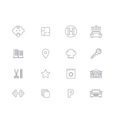 Linear icons infrastructure of residential complex vector