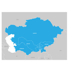 map of central asia region with blue highlighted vector image