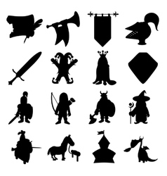 Medieval silhouettes icons set vector