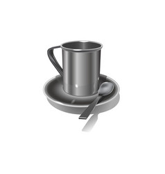 realistic metal mug on white background vector image vector image