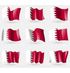Set of Bahrain flags in the air vector image vector image