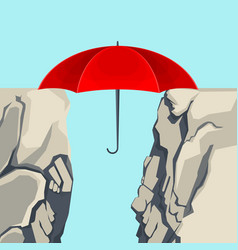umbrella hanging on edges of abyss isolated vector image vector image