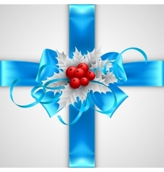 Blue bow with Christmas decorations isolated on vector image