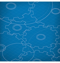 Blueprint of Cogs Blueprint abstract background vector image vector image
