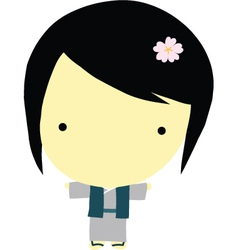 Cute little japanese girl vector image vector image