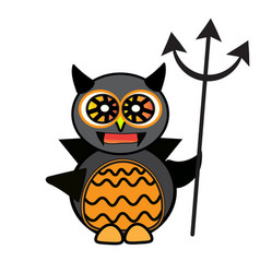 Halloween owl ghost art face isolate on white vector