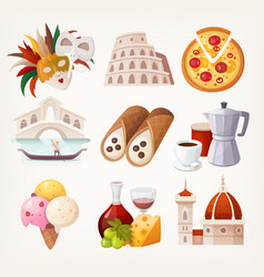 stickers with sights and famous food of italy vector image vector image
