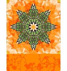 Green stylized flower over bright orange vector image