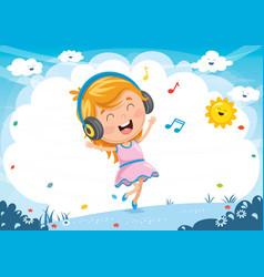 of kid listening music vector image vector image