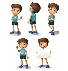 A young boy in different positions vector image vector image