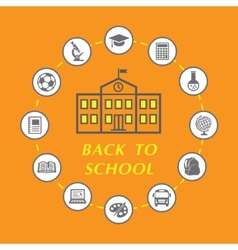 Back to school with education icons vector image vector image