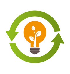 bulb light and plant inside and circle formed vector image