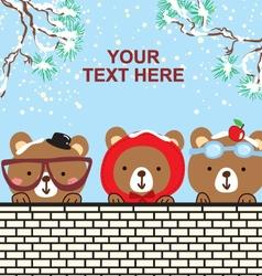 Cute bear in the snow christmas day vector