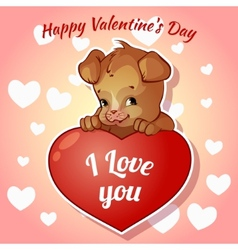 Cute puppy with hearts for Valentines Day vector image vector image