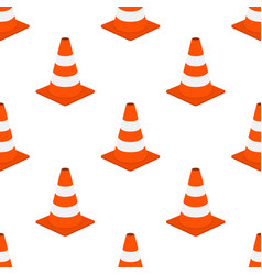 orange traffic cone seamless pattern cartoon flat vector image vector image