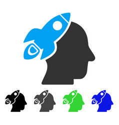 space rocket thinking head flat icon vector image vector image