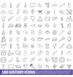 100 history icons set outline style vector