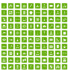 100 profession icons set grunge green vector