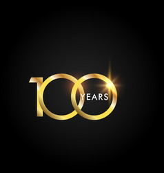 100 years anniversary celebration gold template vector