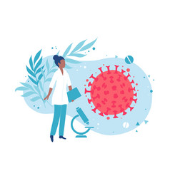 a microbiologist or virologist examines virus vector image