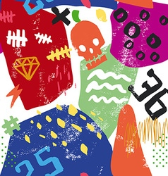 Abstract seamless pattern Skull numbers scribbles vector image