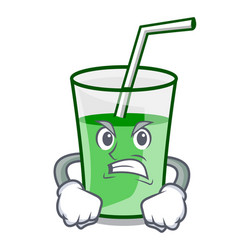 angry green smoothie mascot cartoon vector image
