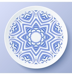 Blue floral ornament decorative plate vector