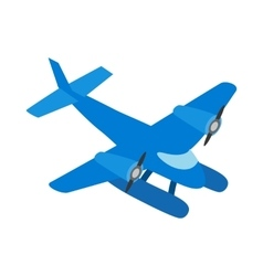 Blue small plane icon isometric 3d style vector
