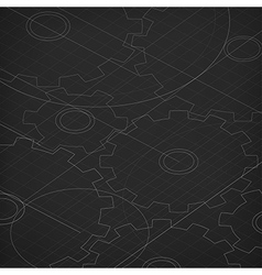 Blueprint of cogwheels Technology abstract vector image