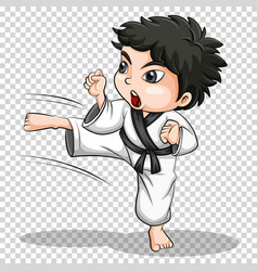 Boy doing karate on transparent background vector
