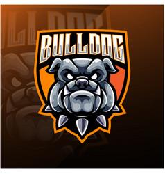bulldog head esport mascot logo vector image