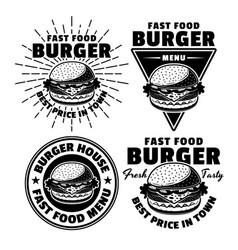 Burger fast food menu set black emblems vector