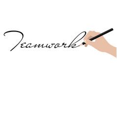 business hand writing teamwork vector image