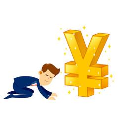 Businessman worshipping money golden japanese yen vector