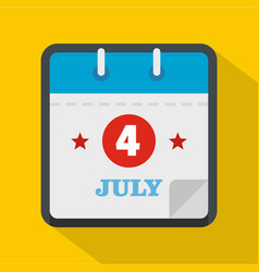 calendar fourth july icon flat style vector image