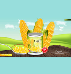 canned sweet corn realistic metal tin vector image