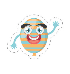Cartoon balloon decorative party cut line vector