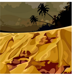 Cartoon surreal landscape of the jungle at sunset vector