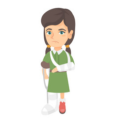 Caucasian sad injured girl with broken arm and leg vector