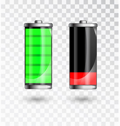 Charged and low battery full charge battery vector