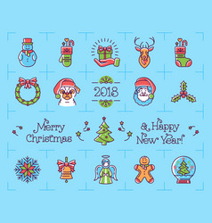 christmas icons set new year symbols chinese vector image