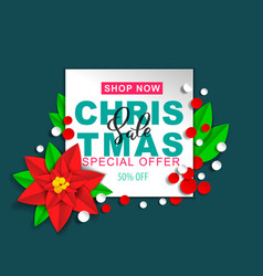 christmas sale poinsettia design vector image