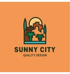City at sunset flat line style design trend vector image